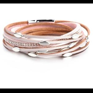 Jewelry - Pink Leather Layered Bohemian Style Wrap Bracelet